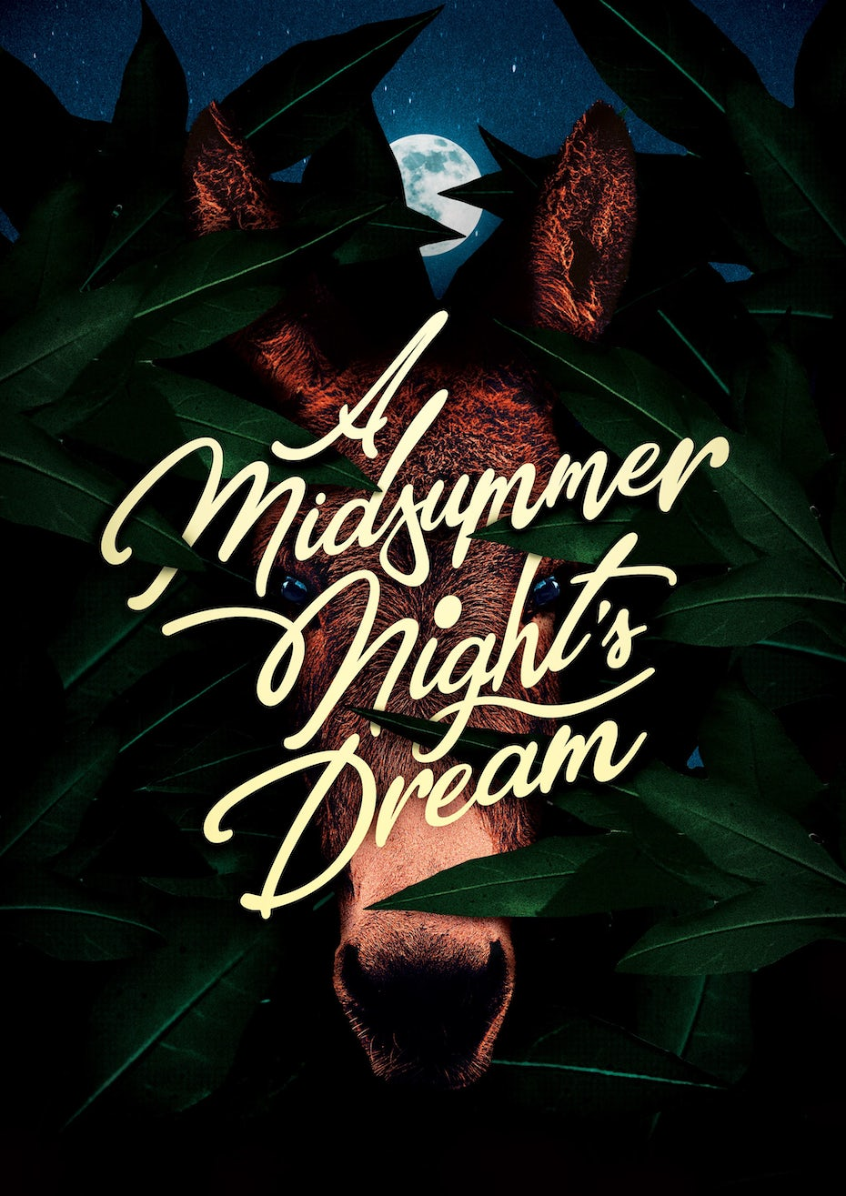 Color trends 2020 example: dark mode A Midsummer Night's Dream poster