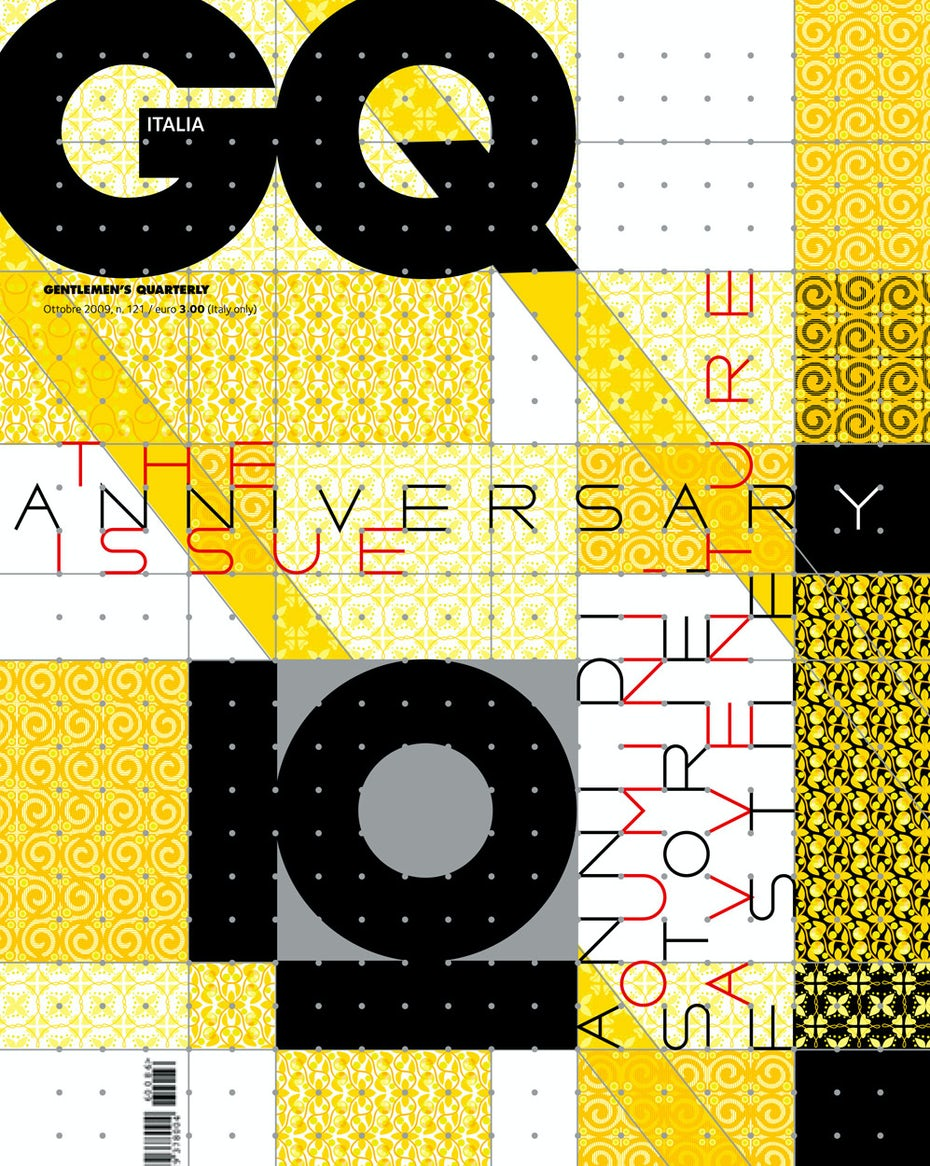 Marian Bantjes patterned magazine cover for GQ