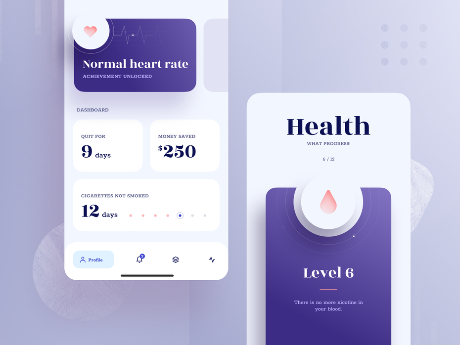 purple and white health app tracking a user's journey to quitting smoking