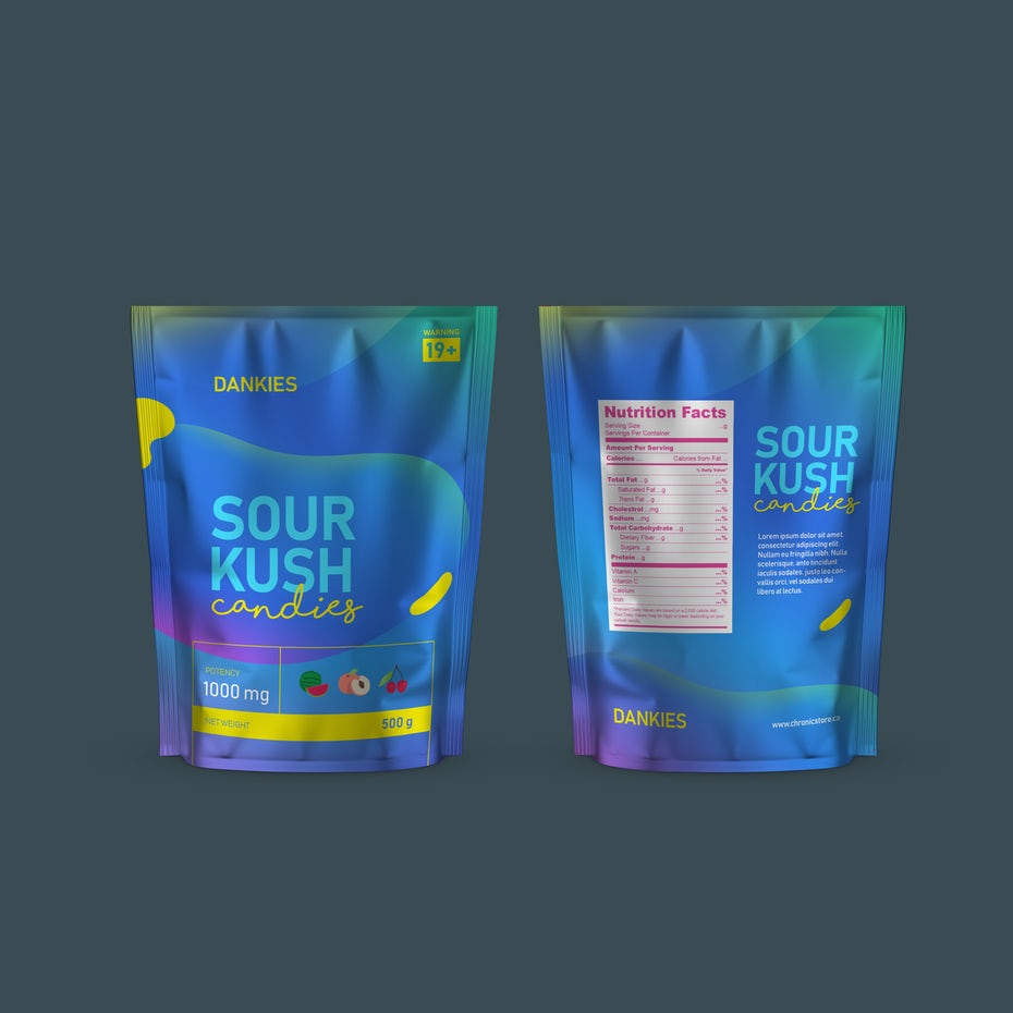 Color trends 2020 example: futuristic color Cannabis Gummy Candy packaging