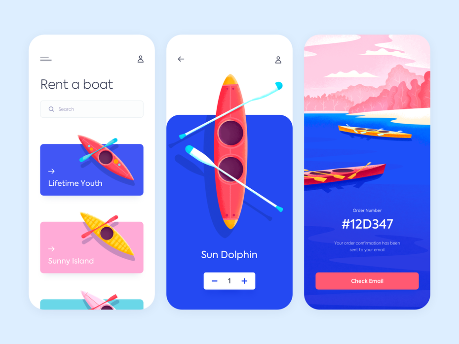 animated boat rental app design with bright-colored images of kayaks