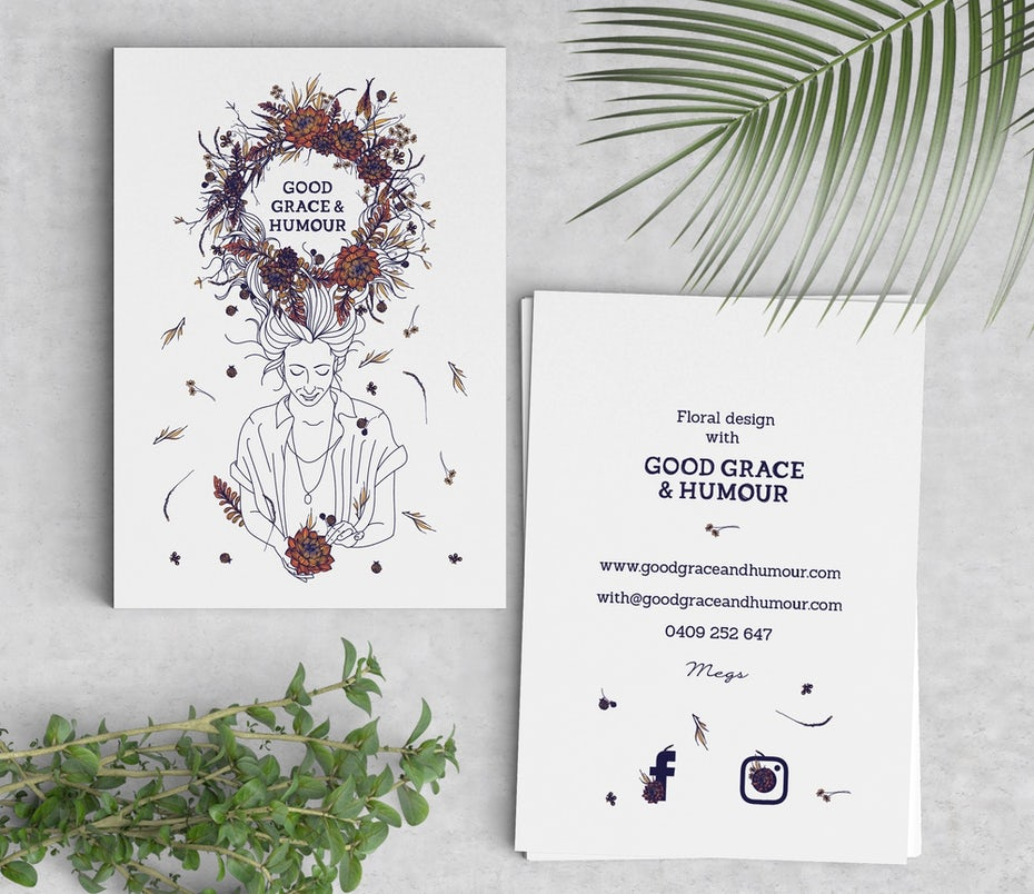 Business cards trends 2020 example: natural floral business card