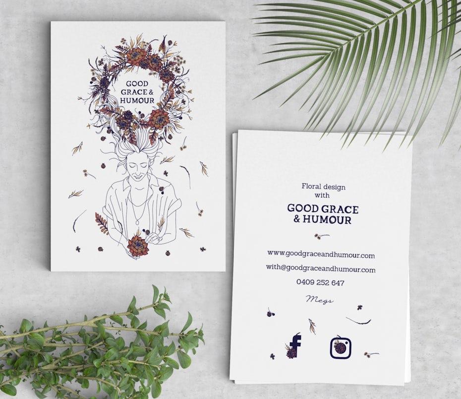 Ejemplo de tarjetas de visita 2020: tarjeta de visita floral natural