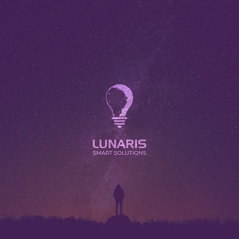 Color trends 2020 example: unique monochrome Lunaris logo