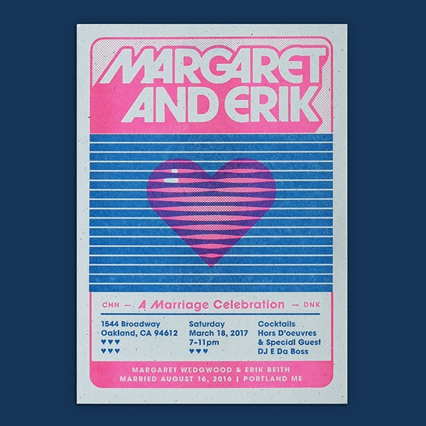 Font trends 2020 example: Wedding invite design with 70s style font