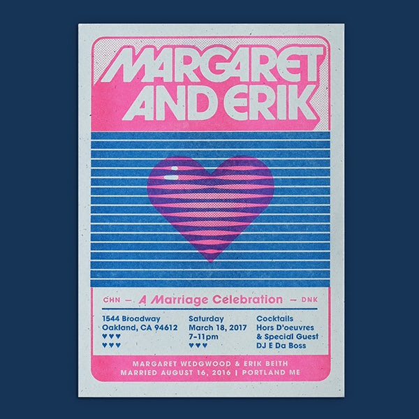 Wedding invite design with 70s style font