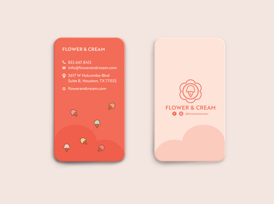 Business cards trends 2020 example: flower and ice cream shop business card
