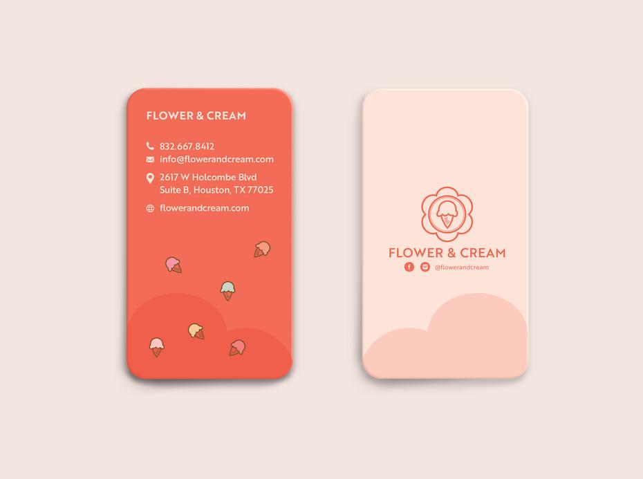 Визитные карточки Тенденции 2020 Пример: визитка магазина цветов и мороженого