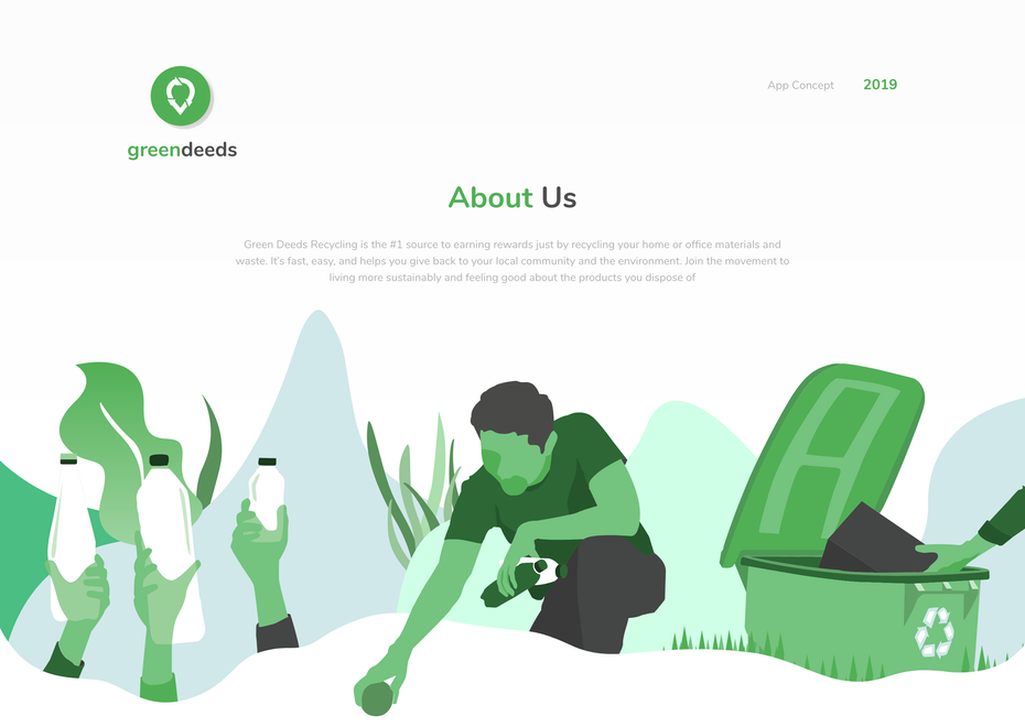 Branding trends 2020 example: greendeeds app design