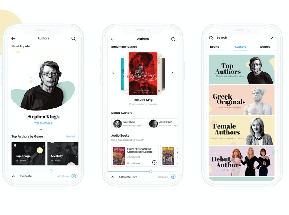 reading app showing serif fonts and images of authors