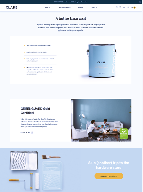 Segmented product page from Clare.