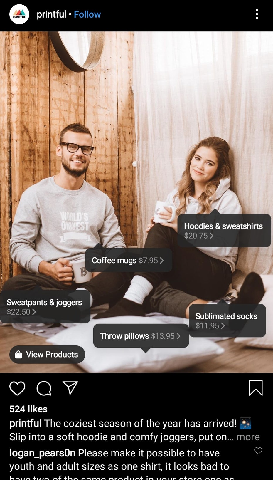 Example of an Instagram post with products to buy.