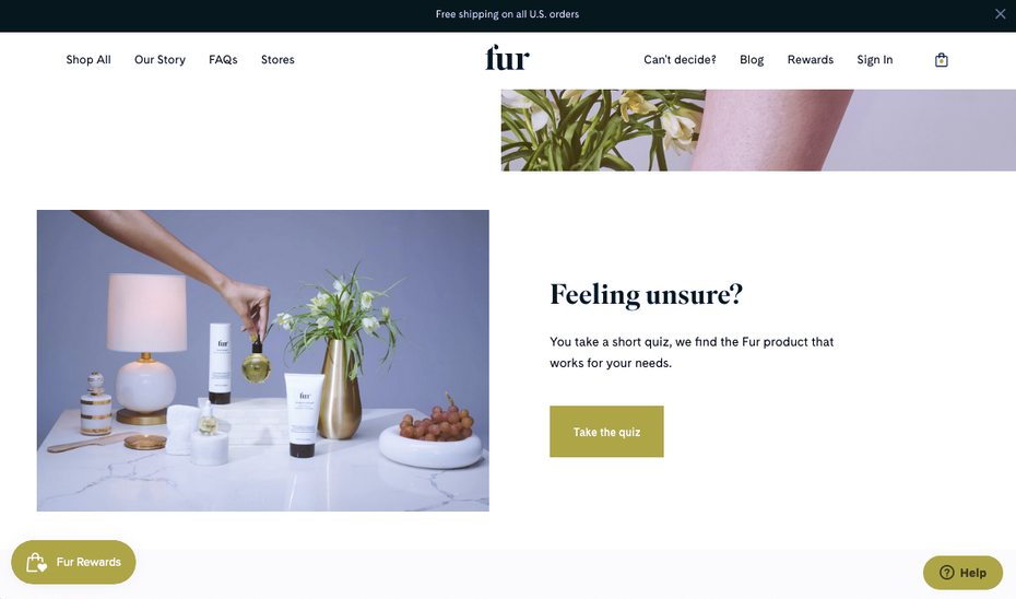 Screenshot from Fur product page