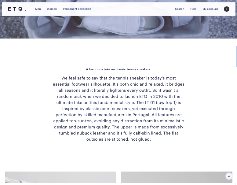 Personal, narrative product pages from ETQ