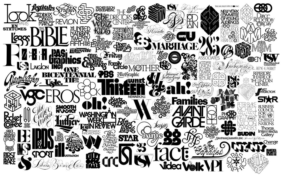 A compilation of Herb Lubalin's logo designs