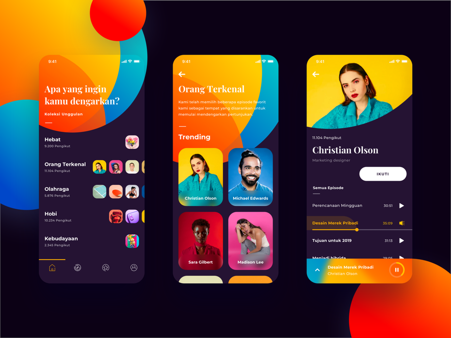 boldly colorful podcast app interface