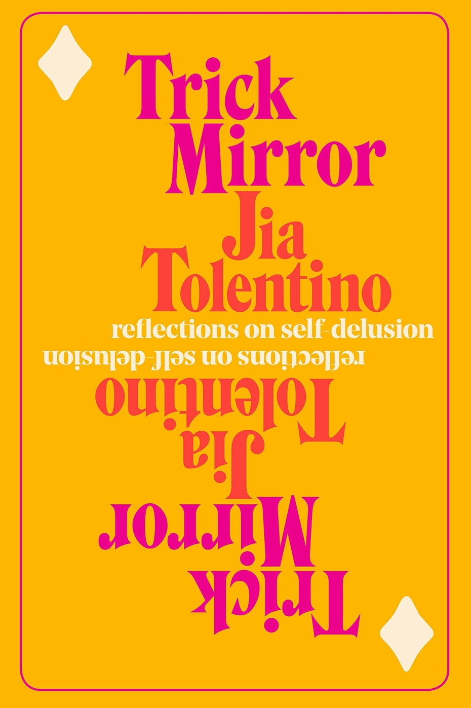 Book cover trends 2020 example with mirrored, pink type