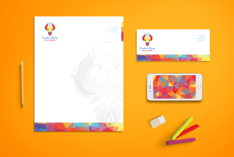 Brand identity collection for Creative Rising