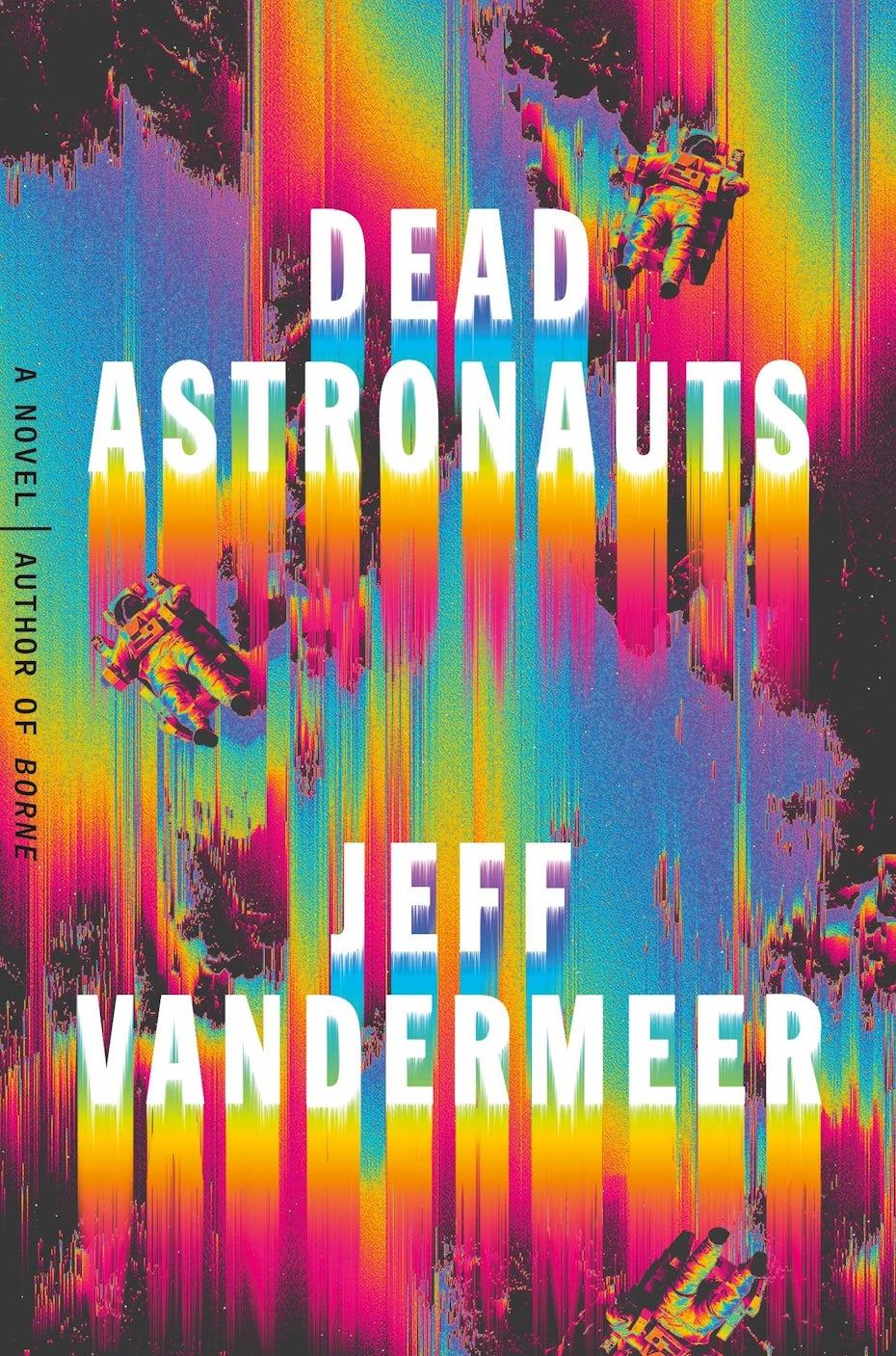 ejemplo de tendencias de portada de libro 2020 con efecto psicodélico y brillante arco iris