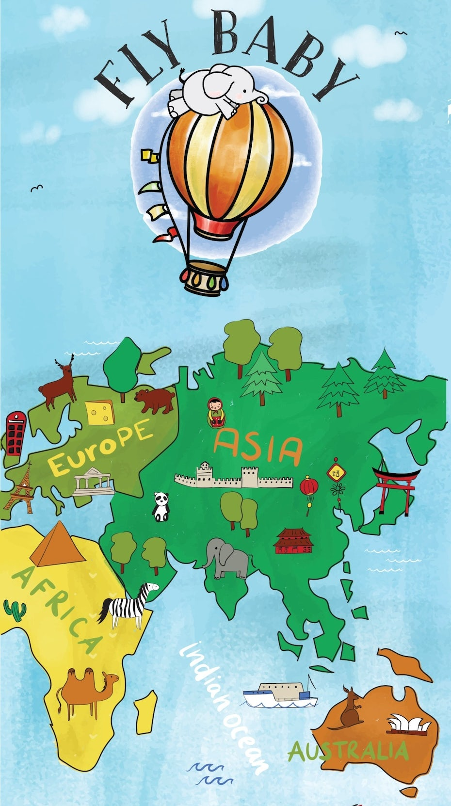Cute illustrated map of the eastern hemisphere