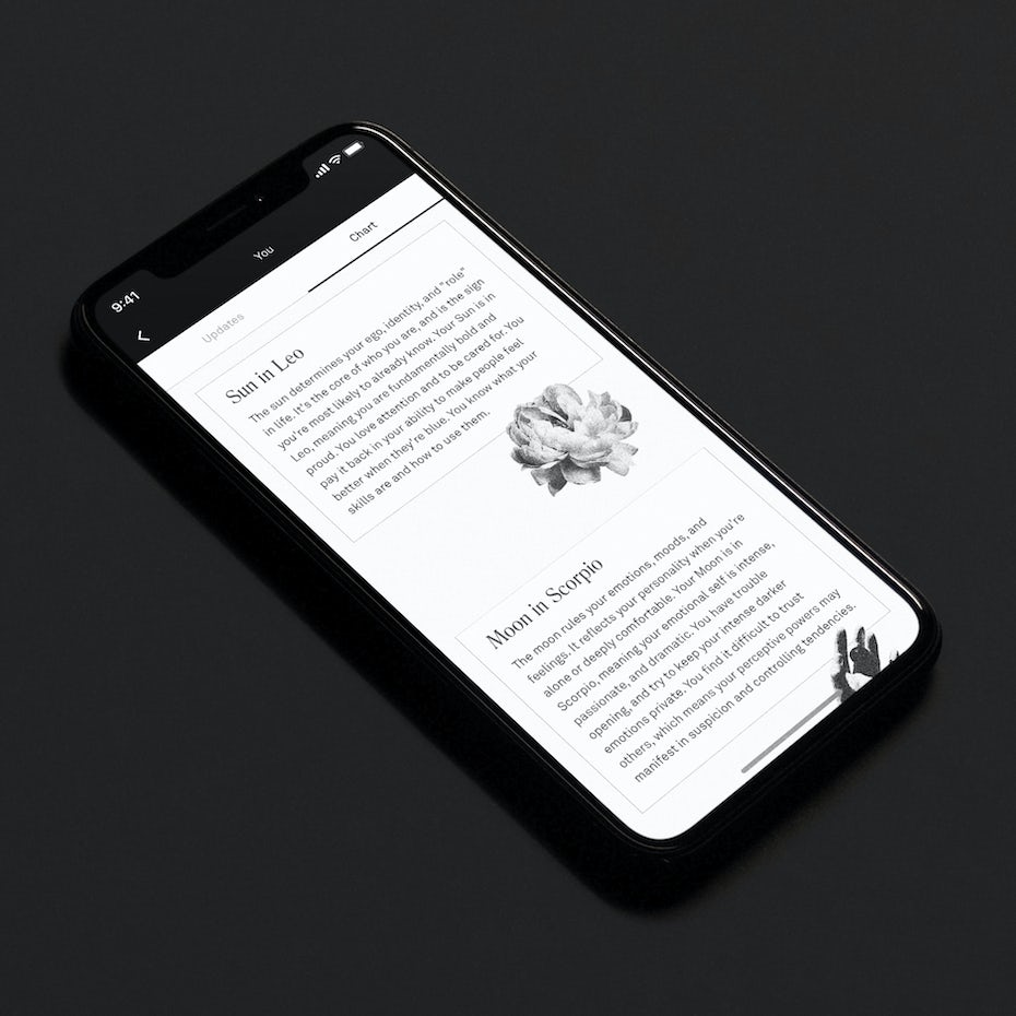 Black and white app design