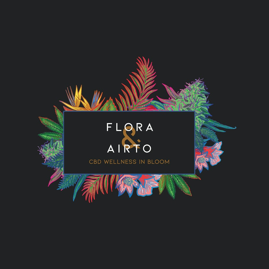 Colored floral retail logo on black background