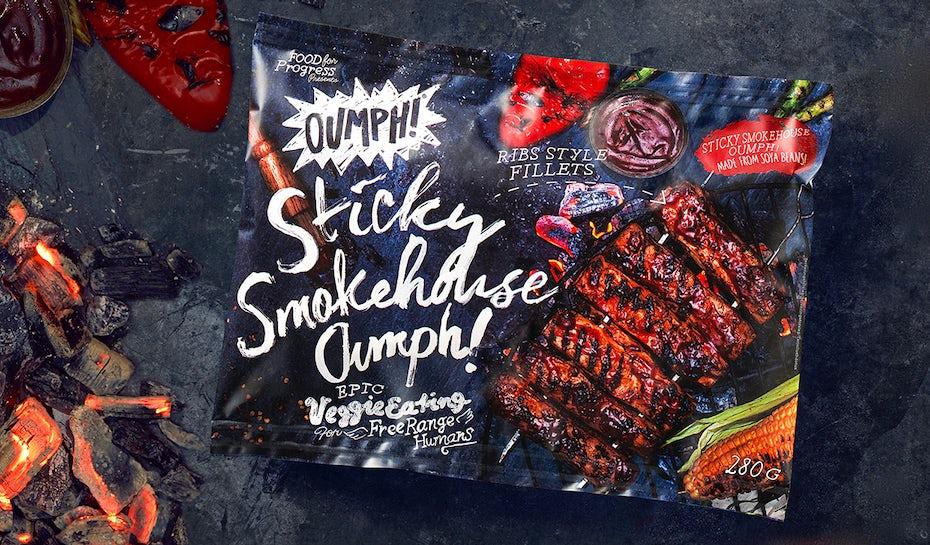 Meatless ribs packaging