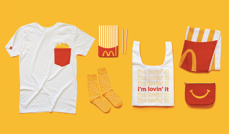 A collection of McDonald's-branded items