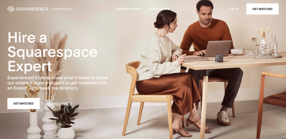 Squarespace marketplace top intro section
