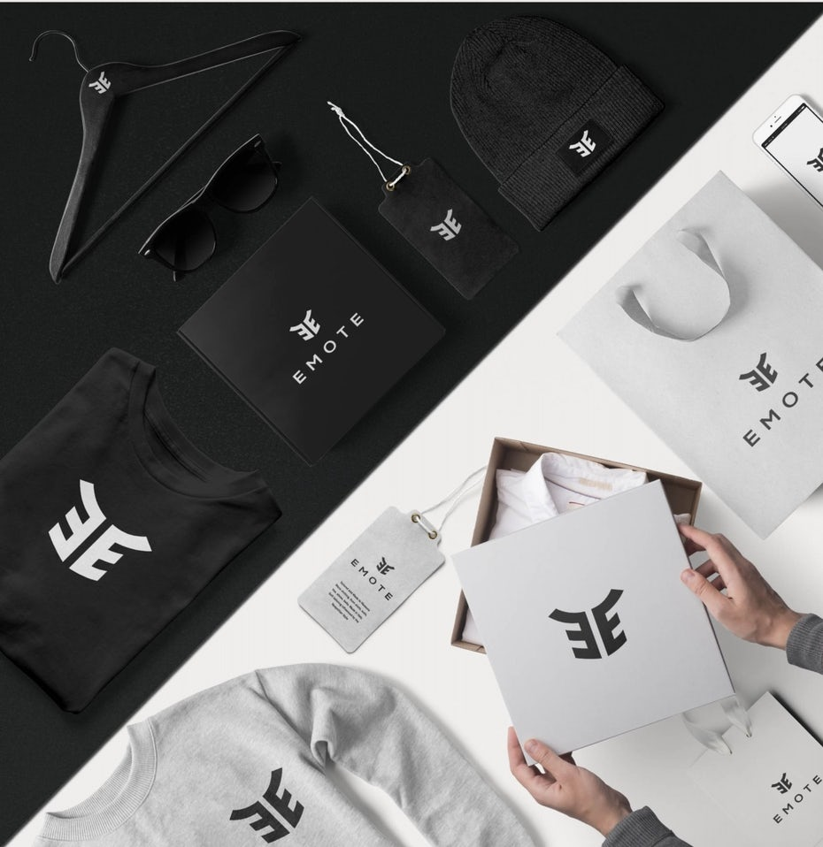 Black and white geometric logo on multiple items