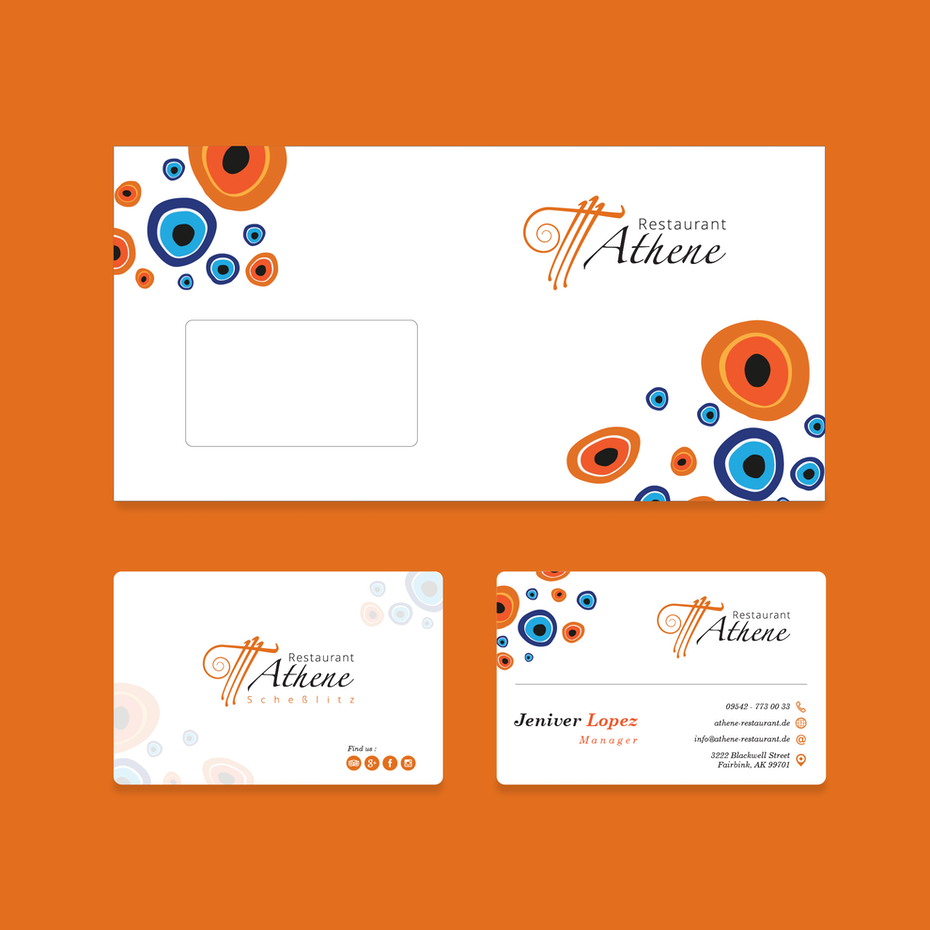 Stationary and color palette for Restaurant Athene