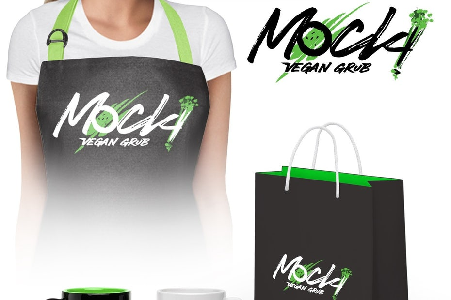 Green, black and white branding elements for Mock!