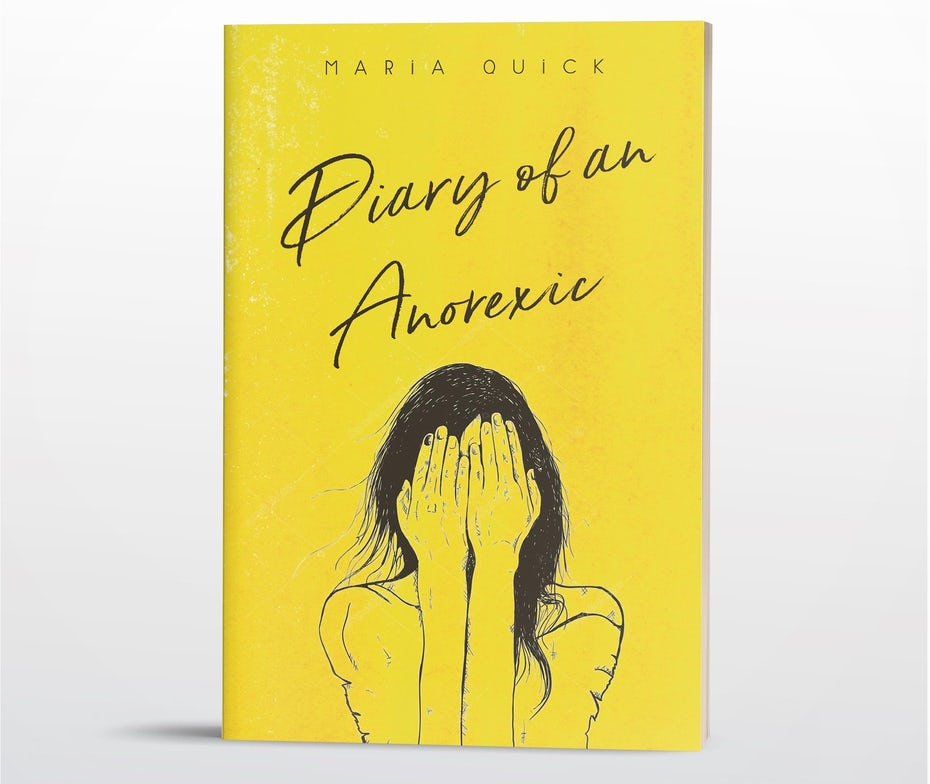 book cover trends 2020 example with handwritten pencil type and illustration of a girl hiding her face