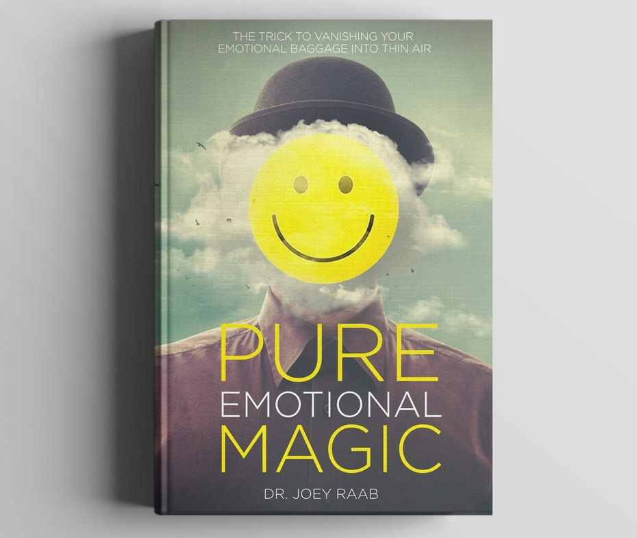 book cover trends 2020 example of person with bowler hat, clouds and smiley as face