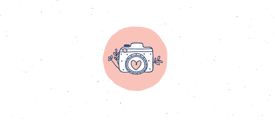 Cute pink hand-drawn camera logo