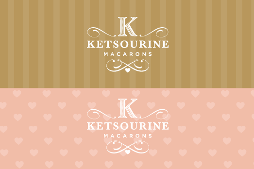 Collection of logo variations and patterns displaying Ketsourine's color palette