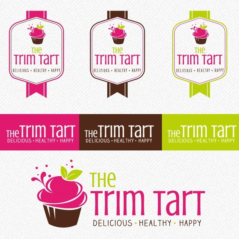 Color palette, font and alternative logos for The Trim Tart