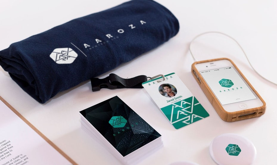 Geometric logos, font, packaging and mockups for Aaroza Infotech