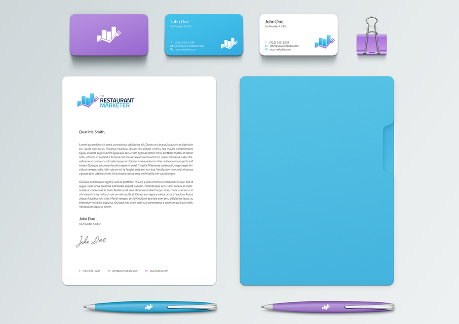 Purple and blue branding elements for a restaurant marketer