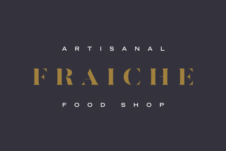 Gold, black and white logo, font and design collection for Fraiche