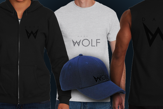 Collection of men's torsos showing different DARK WOLF shirts
