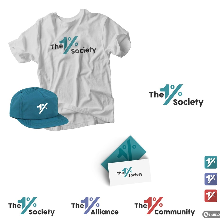 Collection of logos showing The 1% Collective's color scheme
