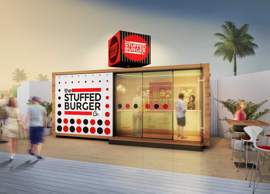 rendering of burger restaurant in a shipping container