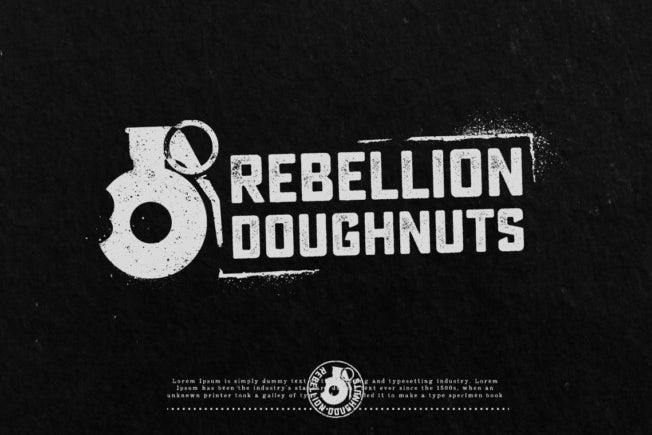 Collection of black and white logo variations for Rebellion Donuts