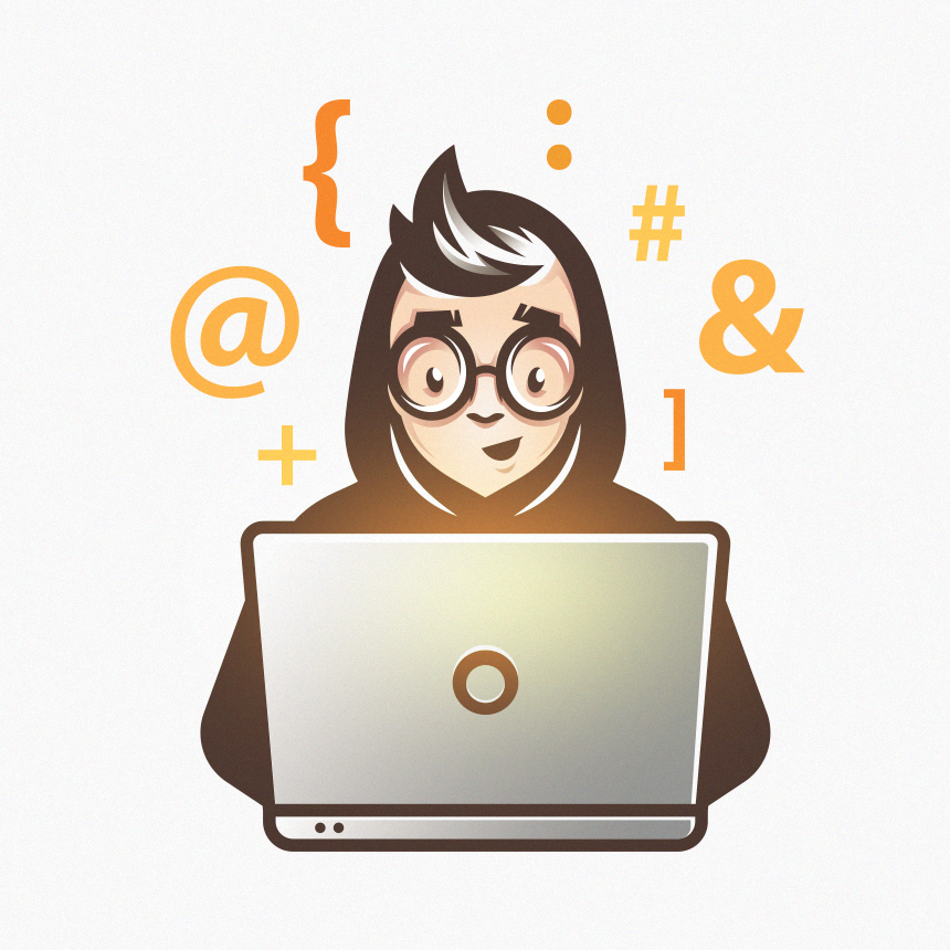 laptop user in black hoodie surrounded by glowing orange icons