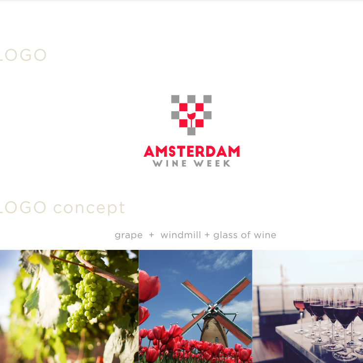 Color palettes, fonts and image choices for Amsterdam Wine Week