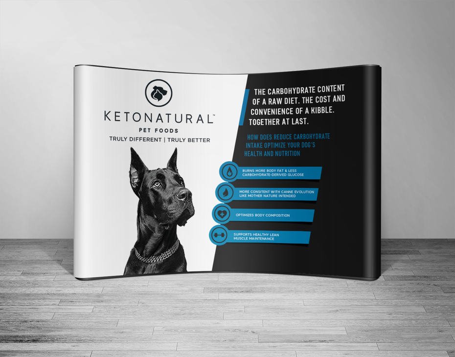 blue and black trade show signage for keto dog food