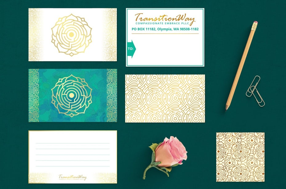 Green and gold brand identity for Transition Way