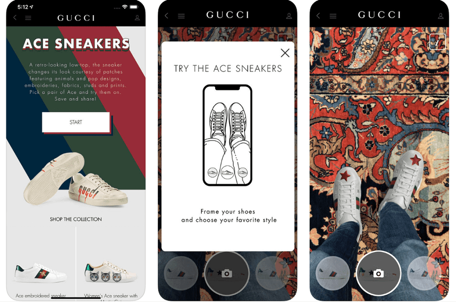 Gucci app with augmented reality sneaker experience
