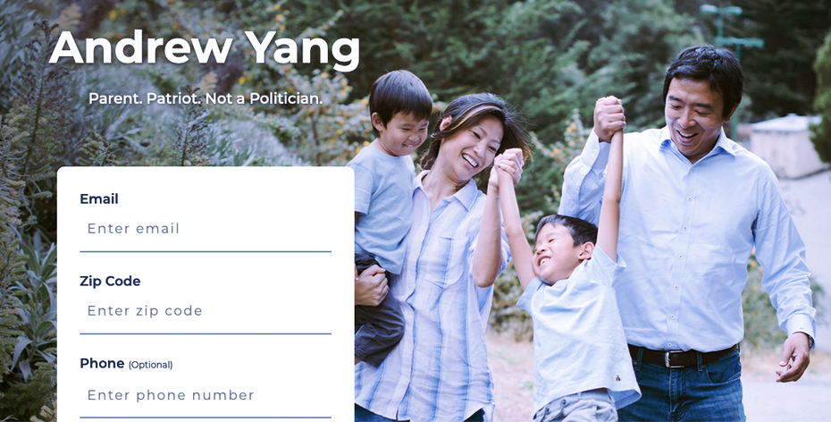 Screenshot from the Andrew Yang 2020 presidential campaign home page.